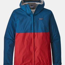 Patagonia Mens Torrentshell Jacket Big Sur Blue W/ Fire Red