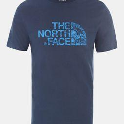 The North Face Mens Short Sleeve Woodcut Dome T-Shirt Blue Wing Teal