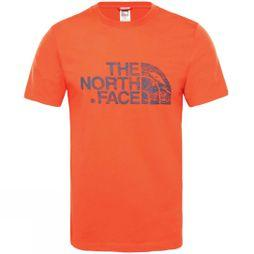 The North Face Mens Short Sleeve Woodcut Dome T-Shirt Fiery Red/Urban Navy