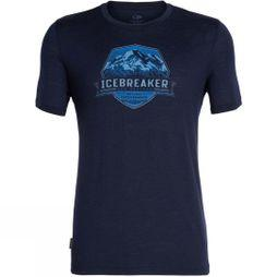 Icebreaker Mens Tech Lite Short Sleeve Crewe Cook Crest T-Shirt Midnight Navy