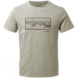 Craghoppers Mens Calvino Short Sleeve T-Shirt Soft Grey Marl Linear Mountain