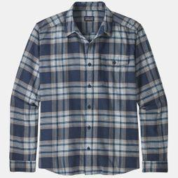 Patagonia Mens Long Sleeved Lightweight Fjord Flannel Shirt Whyte: Stone Blue