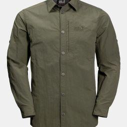 Jack Wolfskin Mens Lakeside Roll-Up Shirt Woodland Green