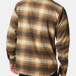 Columbia Men's Outdoor Elements Stretch Flannel Olive Brown Plaid
