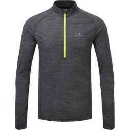 Ronhill Mens Merino 200 1/2 Zip Top Grey Marl/Fluo Yellow