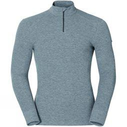 Odlo Mens Active Warm 1/2 Zip Turtle-Neck Long-Sleeve Base Layer Top Grey Melange