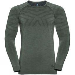 Odlo Mens Natural + Kinship Long Sleeve Crew Top Agave Green Melange