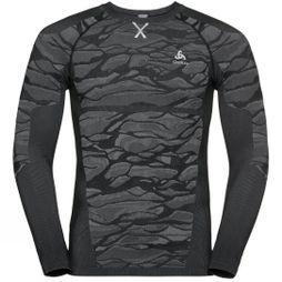 Odlo Mens Blackcomb Long-Sleeve Base Layer Top Black - Odlo Steel Grey - Silver
