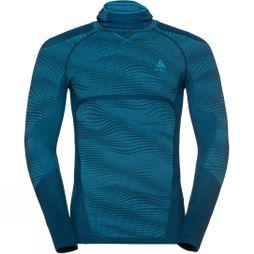 Odlo Mens Blackcomb Long-Sleeve Base Layer Top With Face Mask Poseidon - Blue Jewel - Atomic Blue