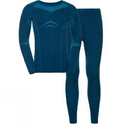 Odlo Mens Performance Evolution Warm Set Poseidon - Blue Jewel