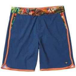 Tentree Mens Baja Boardshort Dark Denim/Aprcito Orange