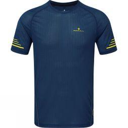 Ronhill Mens Stride Crew T-Shirt Azurite/Midnight Blue/Acid