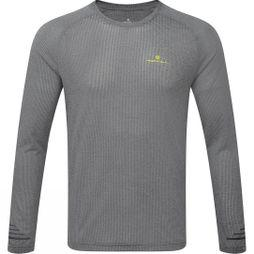 Ronhill Mens Stride LS Crew Grey Marl/ Charcoal