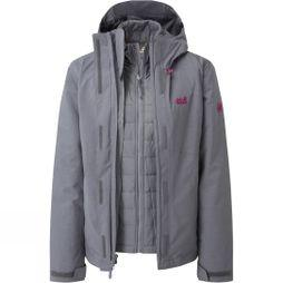 Jack Wolfskin Womens Glencoe Sky III 3in1 Jacket Pebble Grey