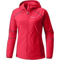 Columbia Womens Sweet As Softshell Hoodie Red Camellia