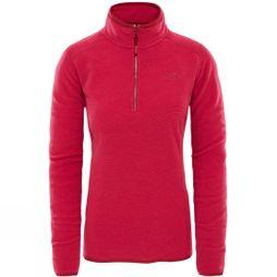 The North Face Womens 100 Glacier 1/4 Zip Fleece Rumba Red/ Cerise Pink Stripe