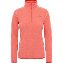 The North Face Womens 100 Glacier 1/4 Zip Fleece Dessert Flower Orange Stripe
