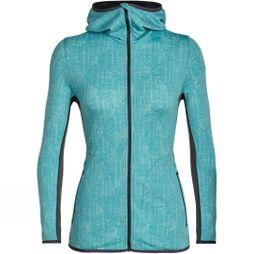 Icebreaker Womens Away Long Sleeve Zip Hood Showers Hoody Ocean / Monsoon