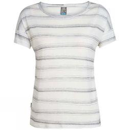 Icebreaker Womens Via Short Sleeve Scoop T-Shirt Scratch Stripe Enamel Heather/Panther