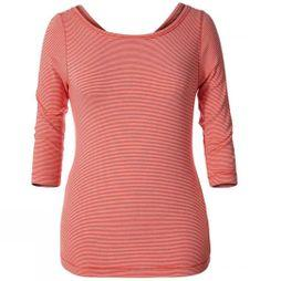 Royal Robbins Womens Kickback To Front Stripe 3/4 Sleeve Top PEACH STRIPE