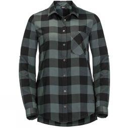 Jack Wolfskin Womens Holmstad Shirt Greenish Grey Checks