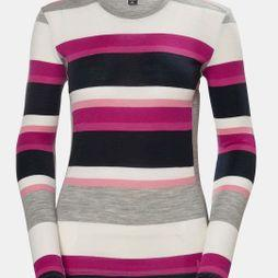 Helly Hansen Womens HH Merino Mid Graphic LS Crew Dragon Fruit Stripe