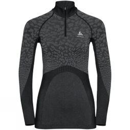 Odlo Womens Blackcomb Half Zip Turtle-Neck Black - Odlo Steel Grey - Silver