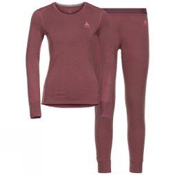 Odlo Womens Natural 100% Merino Warm Set Roan Rouge - Grey Melange
