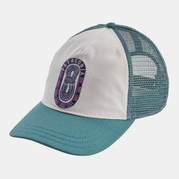 Patagonia Womens Paper Peaks Badge Layback Trucker Hat White/Tasmanian Teal