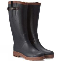 Aigle Womens Aiglentine Faux Fur Welly Marine/Amber