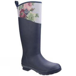 Muck Boot Womens Tremont RHS Print Waterproof Welly Navy/Grey Roses