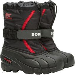 Sorel Childrens Flurry Boot Black, Bright Red