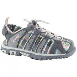 Hi-Tec Cove Closed Toe Junior Sandals Cool Grey/Peach Pink