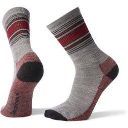 SmartWool Mens Hike Striped Light Crew Socks  Light Gray