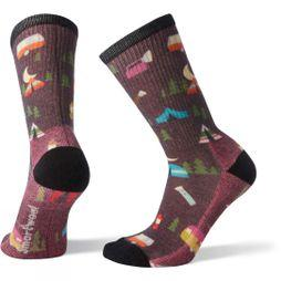SmartWool Womens Hike Light Summer Nights Print Crew Socks Bordeaux