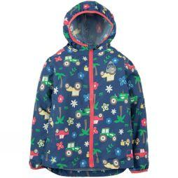Frugi Childrens Puddle Buster Packaway Jacket  Marine Blue Tractors SS19