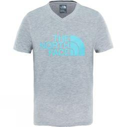The North Face Girls Short Sleeve Reaxion Tee TNF Light Grey Heather/Blue Curacao
