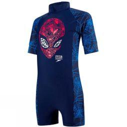 Speedo Boys Marvel Spiderman All In One Navy/Lava Red/Neon Blue