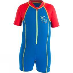 Speedo Girls Seasquad Hot Tot Suit Neon Blue/ High Risk Red