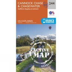 Ordnance Survey Active Explorer Map 244 Cannock Chase and Chasewater V15