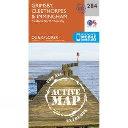 Ordnance Survey Active Explorer Map 284 Grimsby, Cleethorpes and Immingham V15