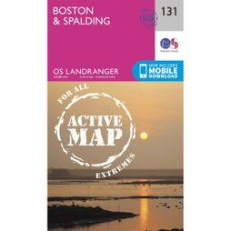 Ordnance Survey Active Landranger Map 131 Boston and Spalding V16