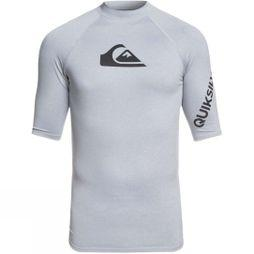Quiksilver Mens All Time Short Sleeves Rashguard Top Light Grey Heather