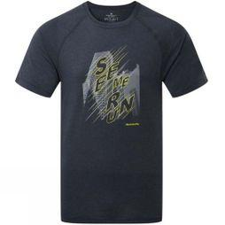 Ronhill Mens Stride Graphic Short Sleeve Tee Charcoal/Fluo Yellow Graphic