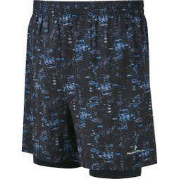Ronhill Mens Momentum Twin 5in Shorts Blk/Elec Blue Bokeh