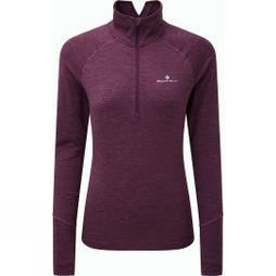 Ronhill Womens Stride Thermal Long Sleeve Zip Tee Aubergine/Blossom