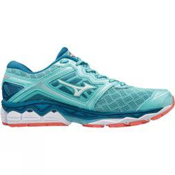 Mizuno Womens Wave Sky Shoe Aqua Splash/White/ Hot Coral