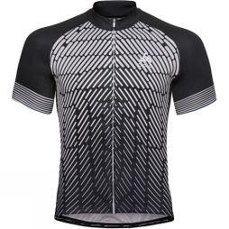 Odlo Mens Fujin Print Stand Up Collar Jersey Black - Odlo Silver Grey