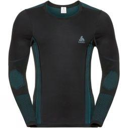 Odlo Mens Performance Windshield Crew Neck  Black/Blue