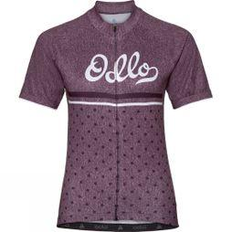 Odlo Womens Active Print Stand-Up Collar Jersey Plum